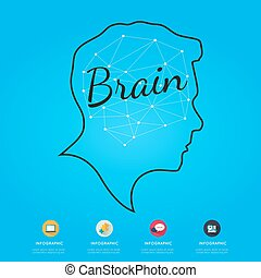 Brain infographic on blue background