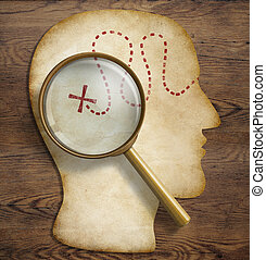 Old map in form of human head with magnifying glass loupe. Brain and inner world exploration concept.
