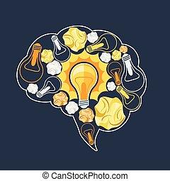 Brain inside glowing light bulb