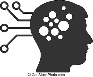 Brain Interface Circuit Vector Icon