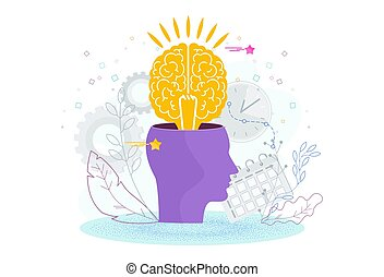 Brain is in a human head. The development of thinking, knowledge