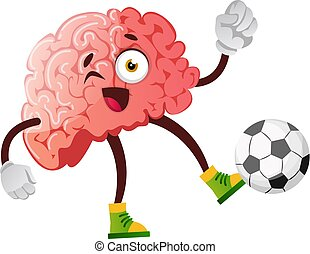 Brain is playing football, illustration, vector on white background.
