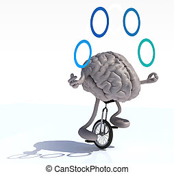 brain juggle with arms and legs rides a unicycle