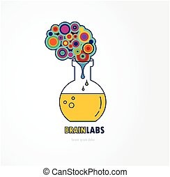 Brain lab logo template design with a round bulb. Vector illustration