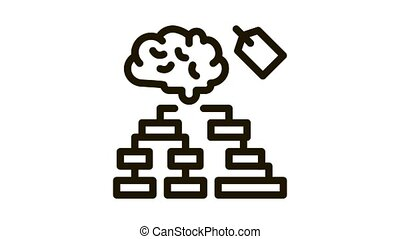 brain label hierarchy chart Icon Animation. black brain label hierarchy chart animated icon on white background