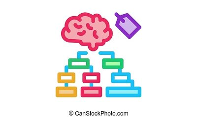 brain label hierarchy chart Icon Animation. color brain label hierarchy chart animated icon on white background