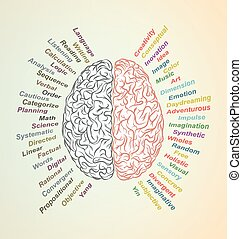 Brain left and right - Creative brain Idea. Vector concept....