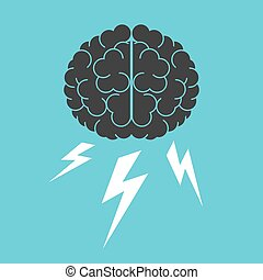 Brain and lightnings. Brainstorming, creativity, intelligence and thinking concept. Flat design. EPS 8 vector illustration, no transparency, no gradients