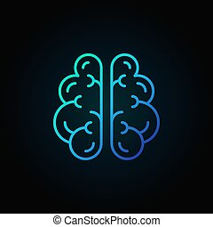 Brain line blue icon - vector intelligence concept symbol