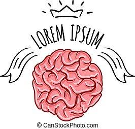 Brain Logo design vector template. Print concept.