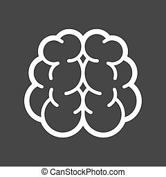 Brain Logo Icon on Black Background. Vector