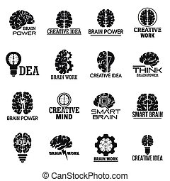 Brain logo set, simple style