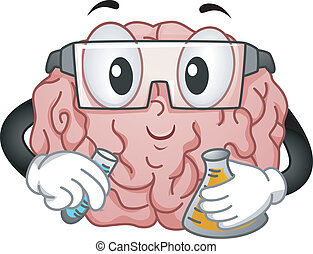Illustration of Brain Mascot with Eye Protection Doing an Experiment