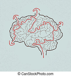brain maze with correct path , Vector