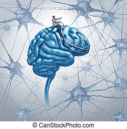 Brain Medical Research - Brain medical research concept with...