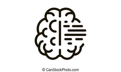 Brain Mental Health Icon Animation. black Brain Mental Health animated icon on white background