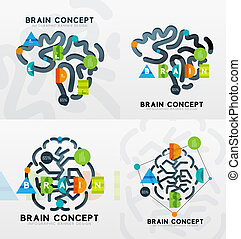 Brain minimal line style infographic banner design, modern...