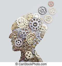 Brain model concept made from gears and cogwheels on grey background
