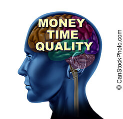 Brain Money Time Quality - Brain money time quality isolated...
