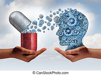 Brain Mredicine - Brain medicine mental health care concept...
