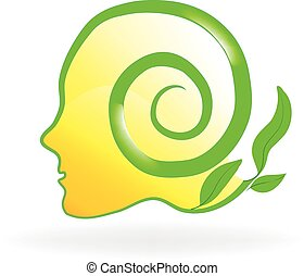 Brain nature health logo - Healthy natural head brain logo...