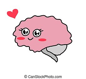 Brain on a white background. Cartoon. Vector.