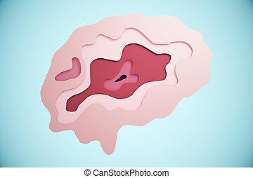 Brain on blue background