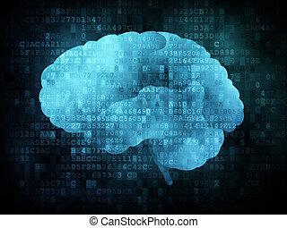 Brain on digital screen, 3d render