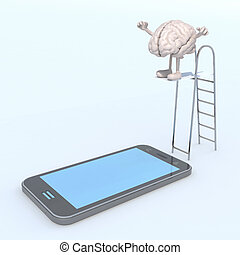 brain on ladder pool that plunges on the mobile phone screen...