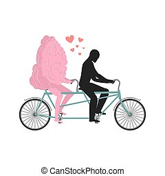 Brain on tandem. Lovers of cycling. Man rolls mind on bicycle. Joint walk with a central organ of nervous system. Romantic date