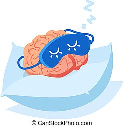 Brain organ in a sleep mask on a pillow. Brain outage, coma. Lack of ideas business concept. Sleep control