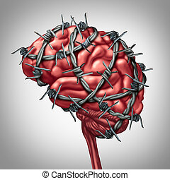 Brain Pain - Brain pain medical health care concept as a...