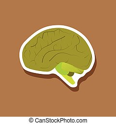brain paper sticker on stylish background