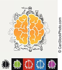 brain paper sticker with hand drawn elements - hand drawn ...