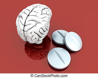 Brain Pills - Some pills for the Brain. Symbolic for Drugs,...