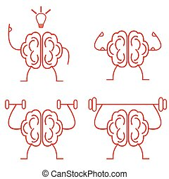 Brain power. Brain training vector illustration. Powerful brain