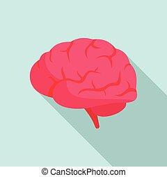 Brain power icon, flat style