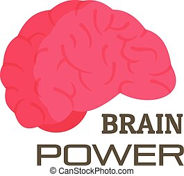 Brain power logo, flat style