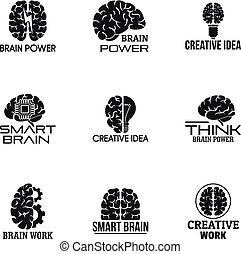 Brain power logo set, simple style