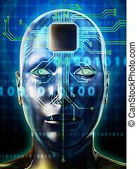 Brain processor - Human head with a microprocessor as brain...