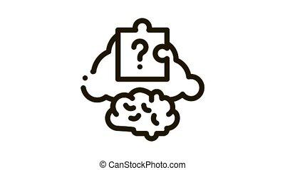 brain puzzle Icon Animation. black brain puzzle animated icon on white background
