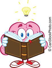 Brain Reading A Book - Smiling Brain Cartoon Character...