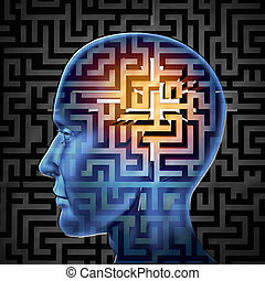 Brain search and human intelligence in regards to research in finding solutions through creative paths and overcoming challenges and obstacles to mental health issues with a glowing maze or labyrinth on a head.