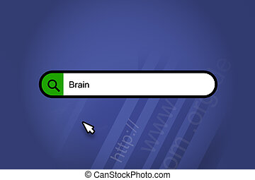 Brain - search engine, search bar with blue background