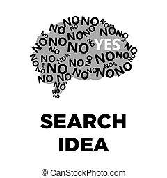 Brain search idea creative icon. Smart intelligence concept vector template