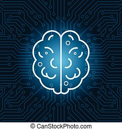 Brain Shape Icon Over Blue Circuit Motherboard Background Top View