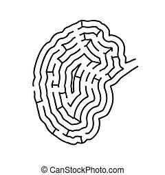 Brain shaped maze, black silhouette on white