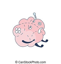 Brain Sick With Band Aids And Thermometer Comic Character Representing Intellect And Intellectual Activities Of Human Mind Cartoon Flat Vector Illustration