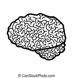 brain silhouette monochrome with side view