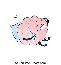 Brain Sleeping With Teddy Bear Comic Character Representing Intellect And Intellectual Activities Of Human Mind Cartoon Flat Vector Illustration